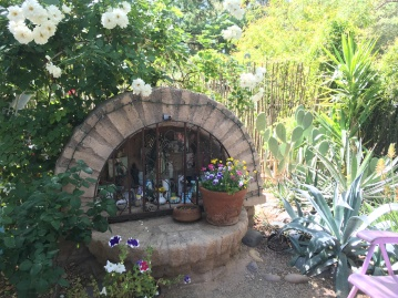 Nuestro Jardin is a garden that pays homage to Mexican-American barrio (neighborhood) gardens. The shrine was a prominent and important fixture.