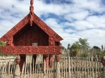 Te Parapara garden is a traditional Maori garden where kumara tubers were planted in mounds to improve drainage. The structure is a pataka storehouse.